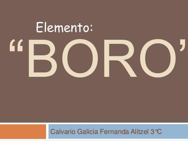 """BORO"" Calvario Galicia Fernanda Alitzel 3°C Elemento:"