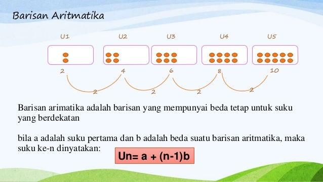 Barisan arimatika adalah barisan yang mempunyai beda tetap untuk suku yang berdekatan bila a adalah suku pertama dan b ada...