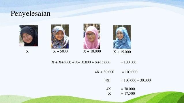 Penyelesaian X X + 5000 X + 10.000 X + 15.000 X + X+5000 + X+10.000 + X+15.000 = 100.000 4X + 30.000 = 100.000 4X = 100.00...