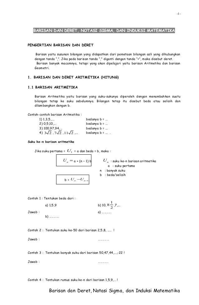 Barisan Dan Deret Notasi Sigma Dan Induksi Matematika
