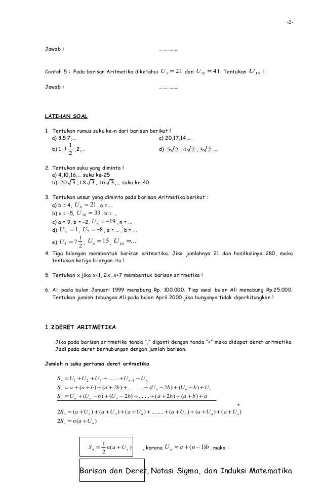 Barisan dan deret, notasi sigma, dan induksi matematika Slide 2