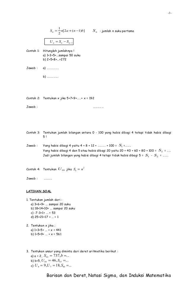 Barisan dan deret, notasi sigma, dan induksi matematika Slide 3