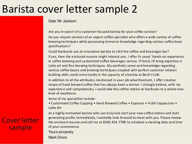Barista Cover Letters