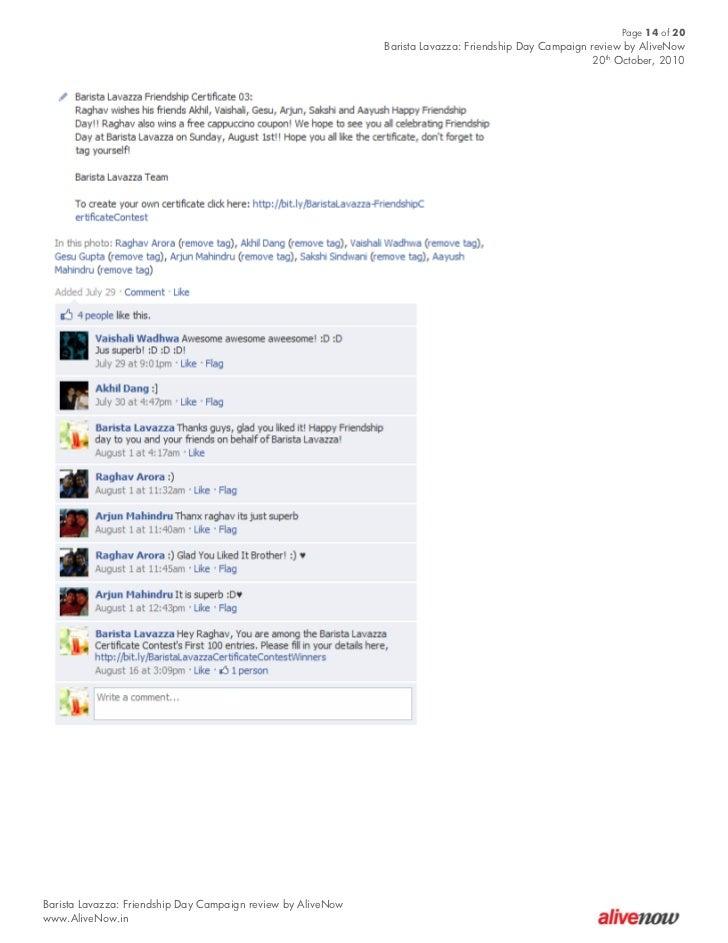 Case Study - Barista Lavazza Friendship Day Campaign On Facebook