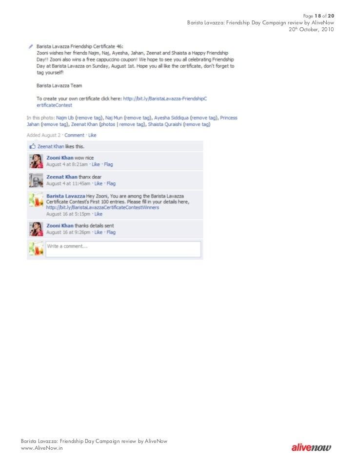 Case Study Barista Lavazza Friendship Day Campaign On Facebook