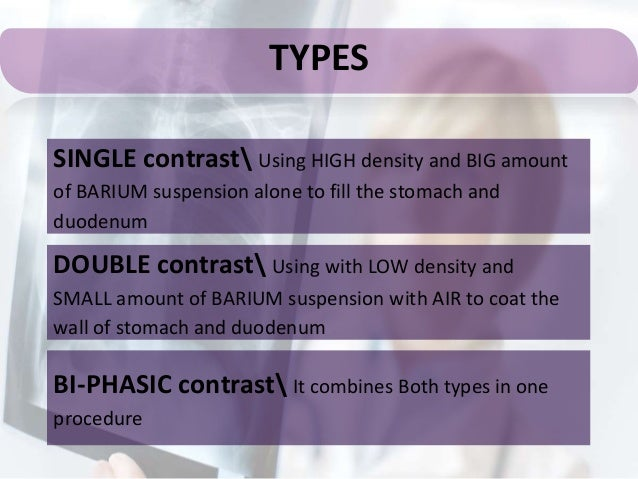 Barium meal Types of contrast