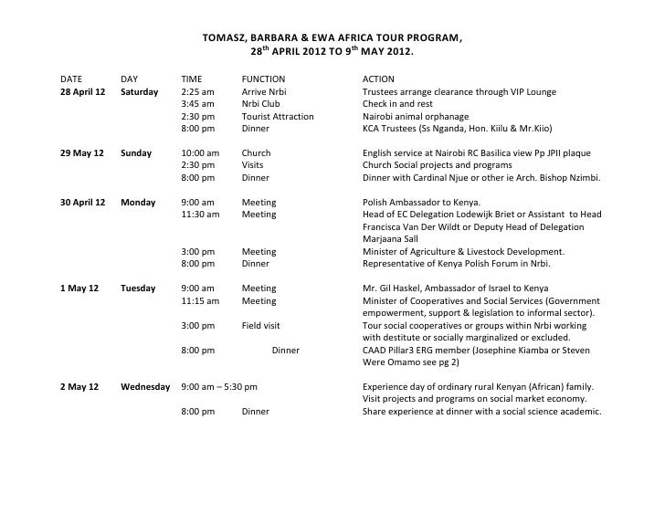 TOMASZ, BARBARA & EWA AFRICA TOUR PROGRAM,                                      28th APRIL 2012 TO 9th MAY 2012.DATE      ...