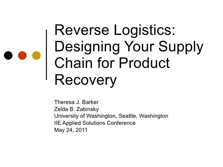 Reverse Logistics: Designing Your Supply Chain for Product Recovery Theresa J. Barker Zelda B. Zabinsky University of Wash...
