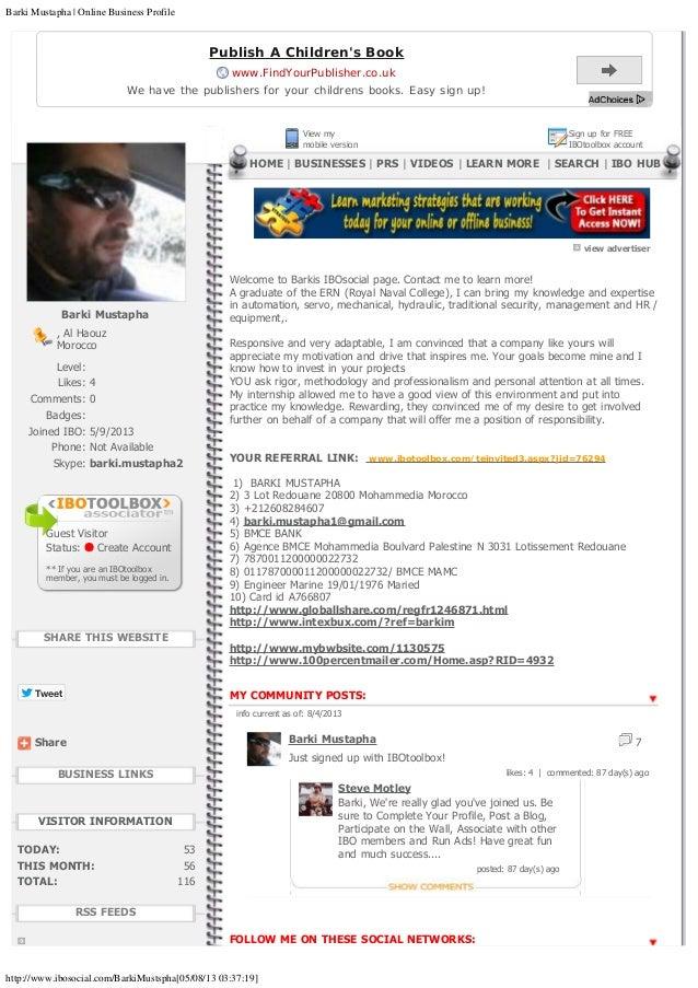 Barki Mustapha   Online Business Profile http://www.ibosocial.com/BarkiMustspha[05/08/13 03:37:19] Tweet Share BarkiMusta...