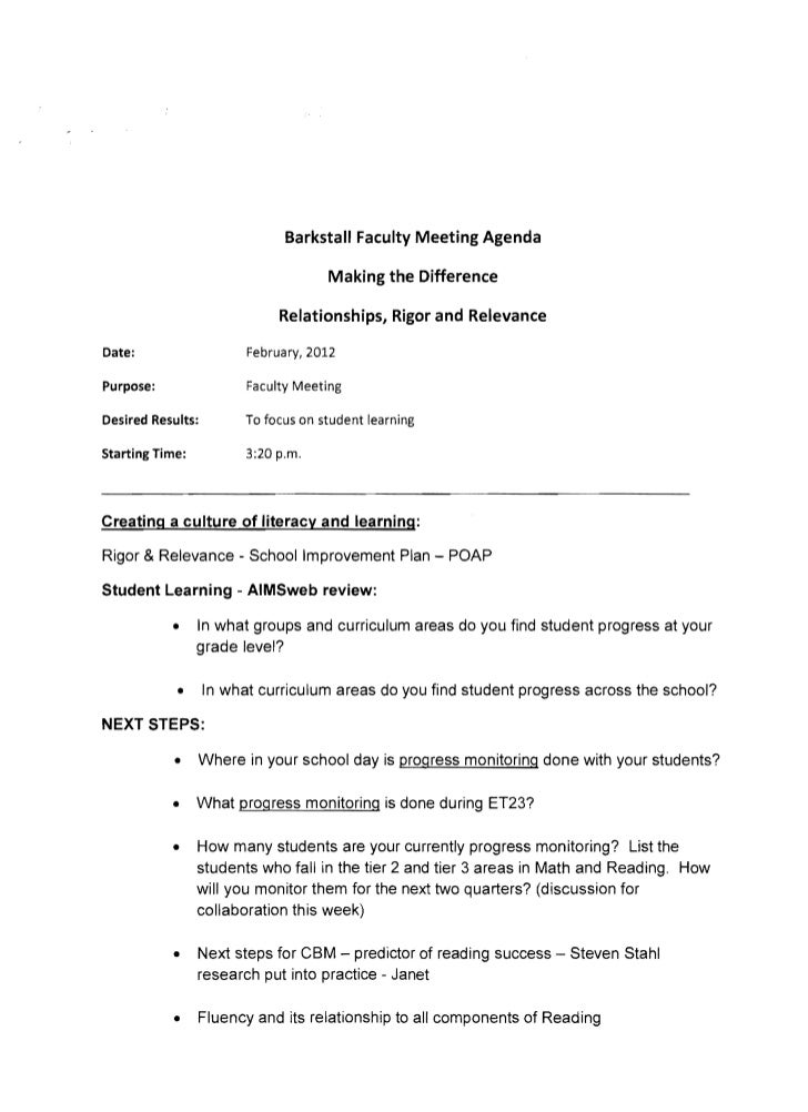 Barkstall Faculty Meeting Agenda                                   Making the Difference                           Relatio...