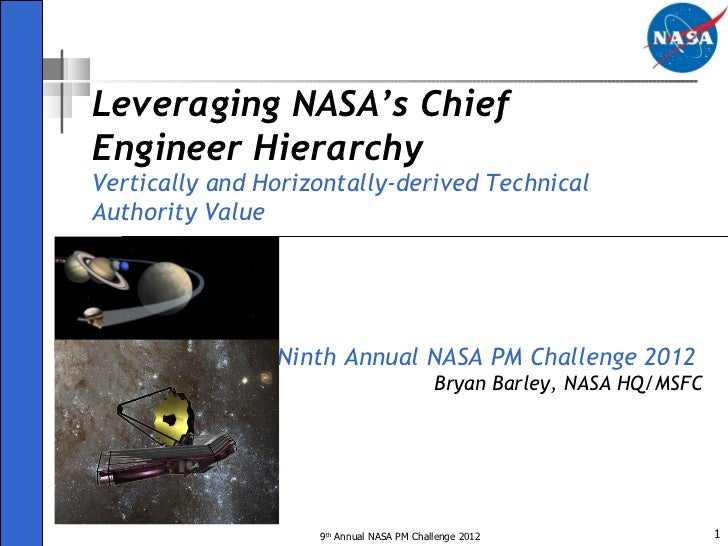 Ninth Annual NASA PM Challenge 2012  Bryan Barley, NASA HQ/MSFC Leveraging NASA's Chief Engineer Hierarchy Vertically and ...