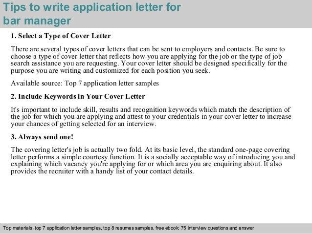 Bar Manager Application Letter