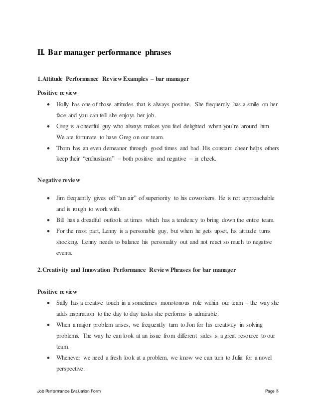 Job Performance Evaluation Form Page 8 II. Bar Manager ...  Bar Manager Job Description
