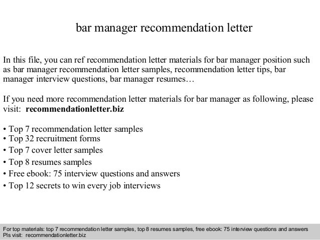 Bar Manager Recommendation Letter