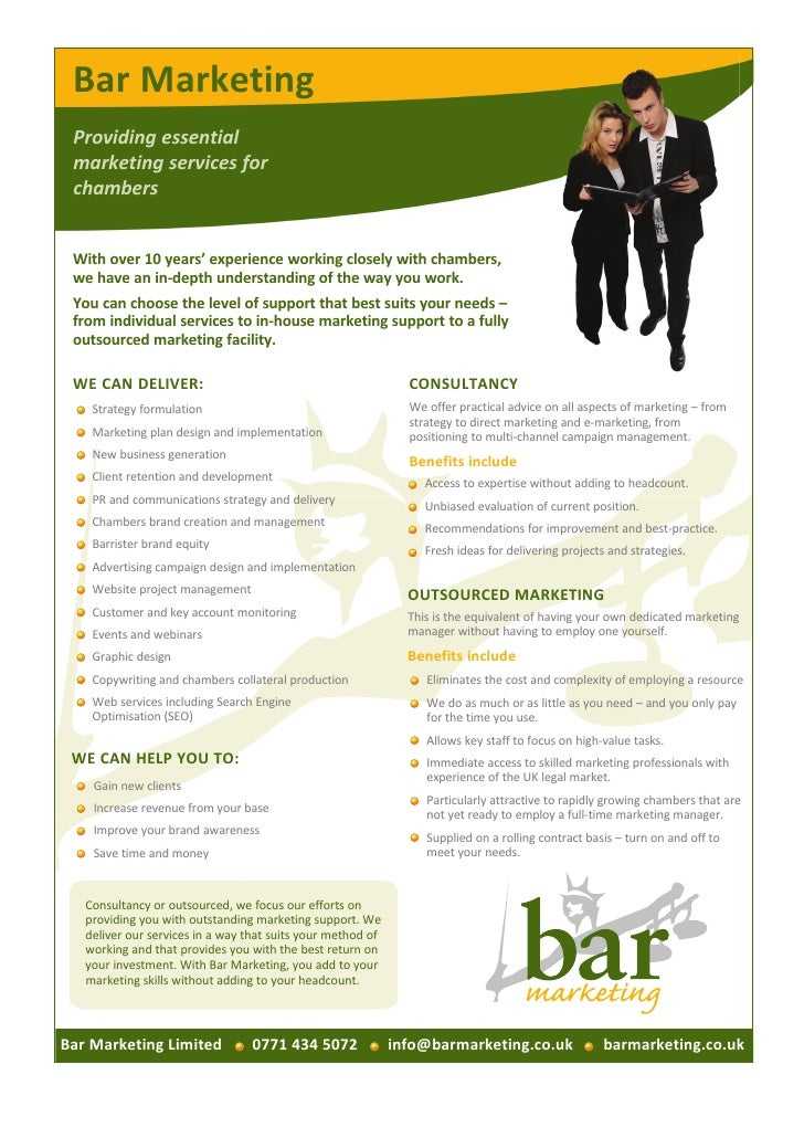 Bar Marketing Providing essential marketing services for chambers With over 10 years' experience working closely with cham...