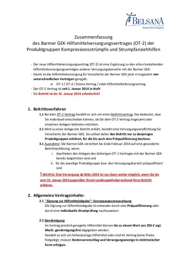 Zusammenfassung des Barmer GEK-Hilfsmittelversorgungsvertrages (OT-2) der Produktgruppen Kompressionsstrümpfe und Strumpfa...