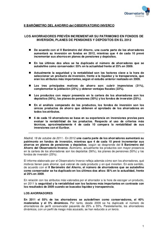 1II BARÓMETRO DEL AHORRO del OBSERVATORIO INVERCOLOS AHORRADORES PREVÉN INCREMENTAR SU PATRIMONIO EN FONDOS DEINVERSIÓN, P...
