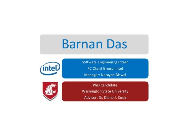 Barnan Das Software Engineering Intern PC Client Group, Intel Manager: Narayan Biswal PhD Candidate  Washington State Univ...