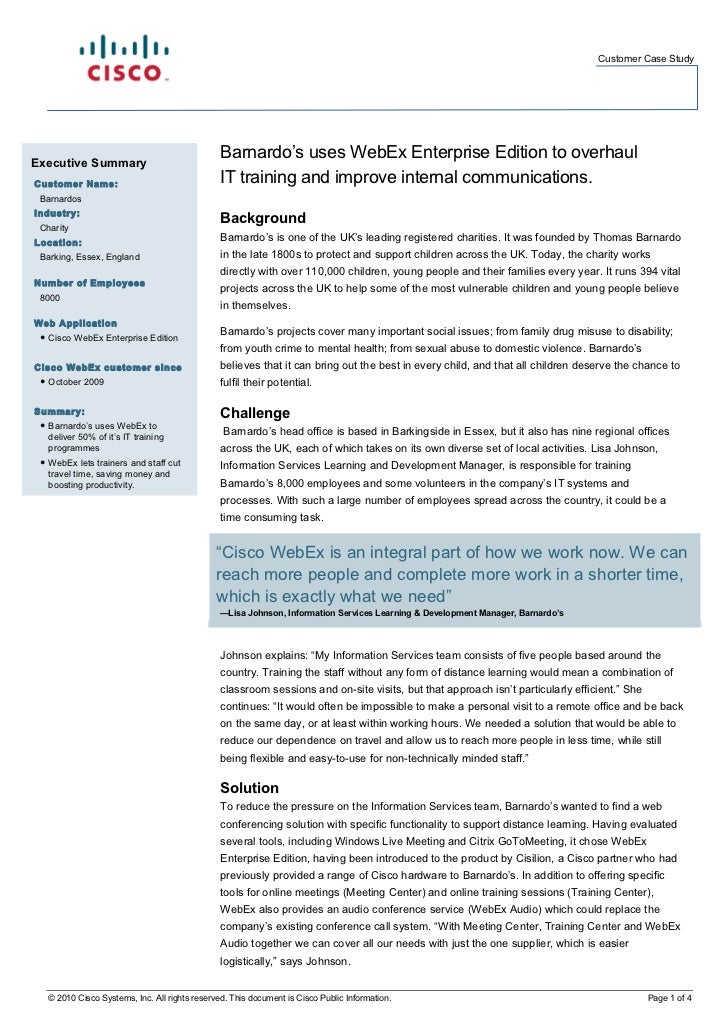 Customer Case StudyExecutive Summary                                                Barnardo's uses WebEx Enterprise Editi...