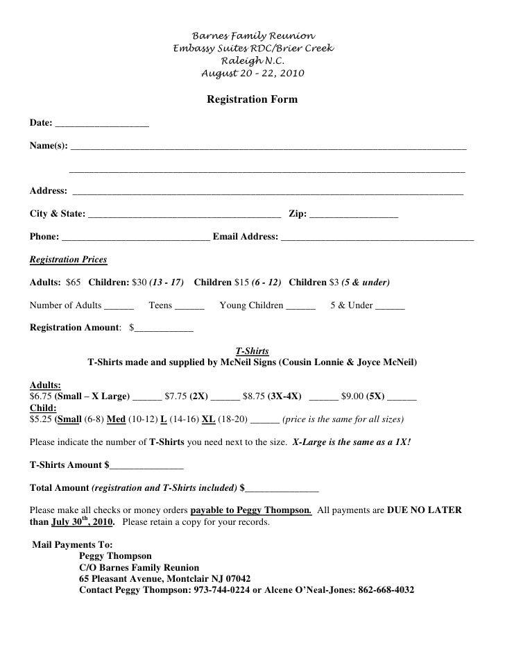Barnes Reunion Registration 2010