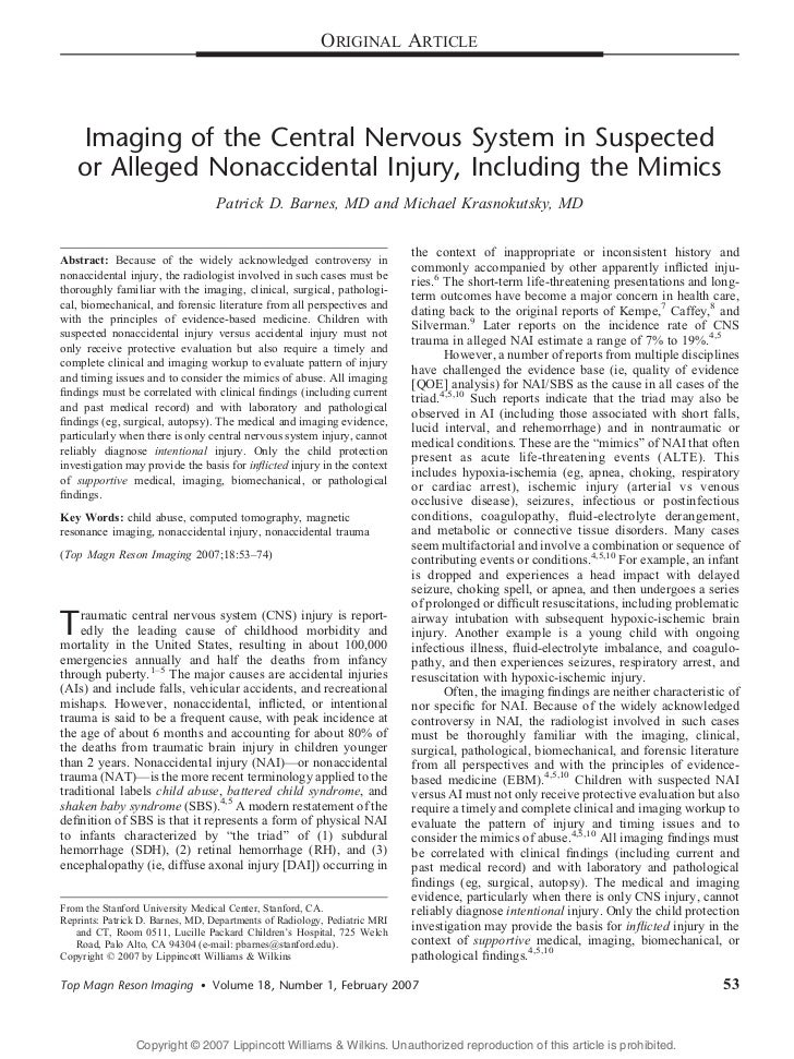 ORIGINAL ARTICLE   Imaging of the Central Nervous System in Suspected   or Alleged Nonaccidental Injury, Including the Mim...