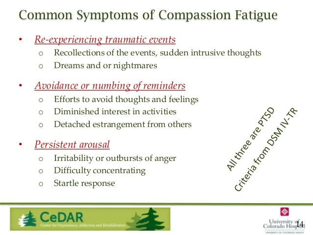 Common Symptoms of Compassion Fatigue •  Re-experiencing traumatic events o o  •  Avoidance or numbing of reminders o o o ...