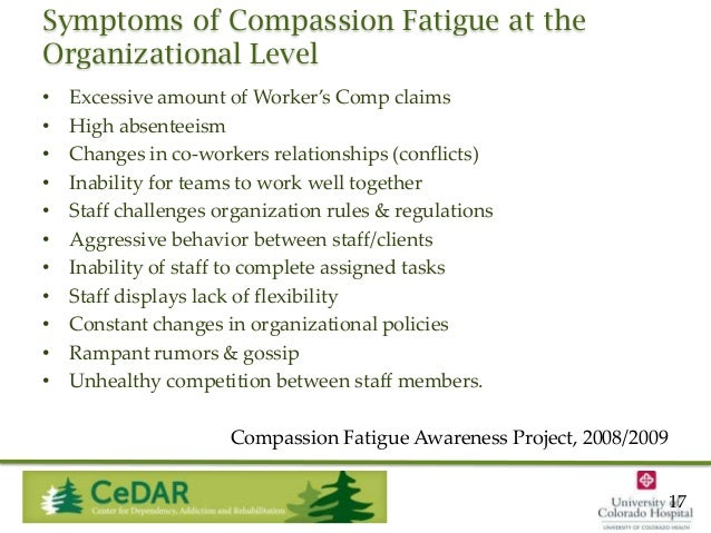 Symptoms of Compassion Fatigue at the Organizational Level • • • • • • • • • • •  Excessive amount of Worker's Comp claims...