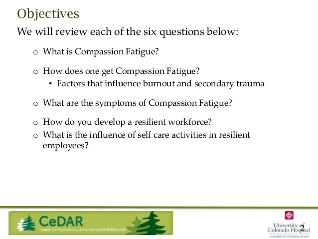 Objectives We will review each of the six questions below: o What is Compassion Fatigue? o How does one get Compassion Fat...