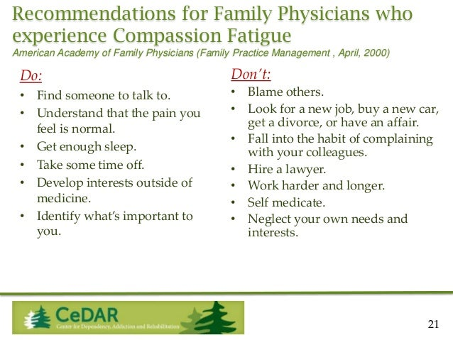 Recommendations for Family Physicians who experience Compassion Fatigue American Academy of Family Physicians (Family Prac...