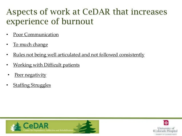 Aspects of work at CeDAR that increases experience of burnout •  Poor Communication  •  To much change  •  Rules not being...