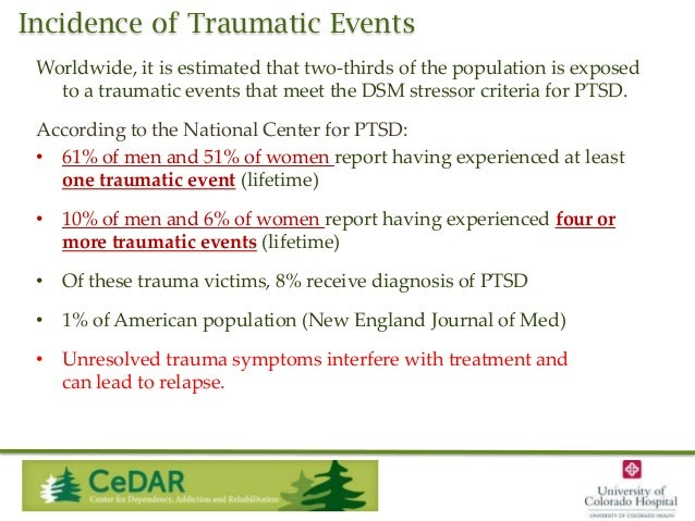 Incidence of Traumatic Events Worldwide, it is estimated that two-thirds of the population is exposed to a traumatic event...