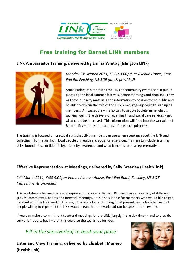 Free training for Barnet LINk membersLINk Ambassador Training, delivered by Emma Whitby (Islington LINk)                  ...