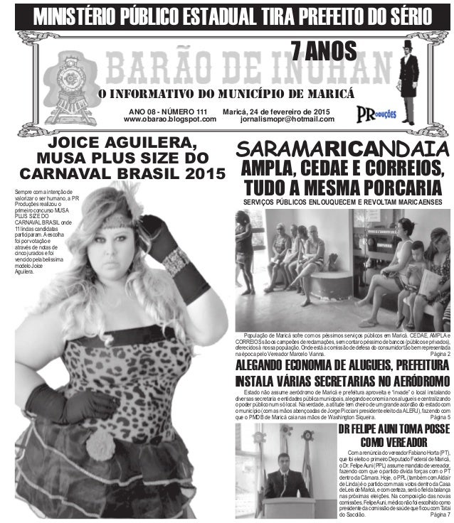 ANO 08 - NÚMERO 111 Maricá, 24 de fevereiro de 2015 www.obarao.blogspot.com jornalismopr@hotmail.com O INFORMATIVO DO MUNI...