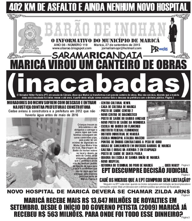 ANO 08 - NÚMERO 119 Maricá, 27 de setembro de 2015 www.obarao.blogspot.com jornalismopr@hotmail.com O INFORMATIVO DO MUNIC...