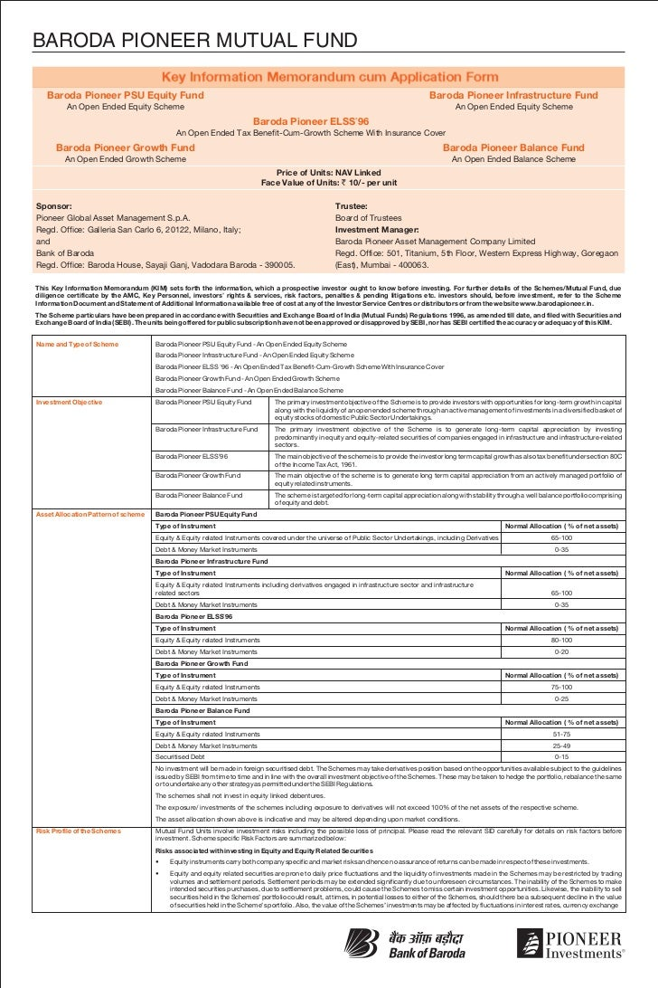 baroda pioneer mutual fund common application form equity fund with k u2026