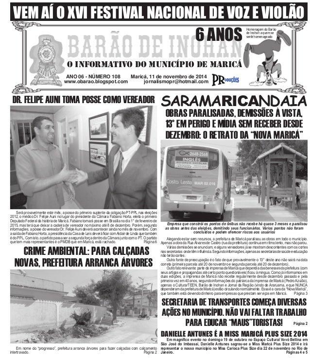 VEM AÍ O XVI FESTIVAL NACIONAL DE VOZ E VIOLÃO  6 ANOS  O INFORMATIVO DO MUNICÍPIO DE MARICÁ  ANO 06 - NÚMERO 108 Maricá, ...