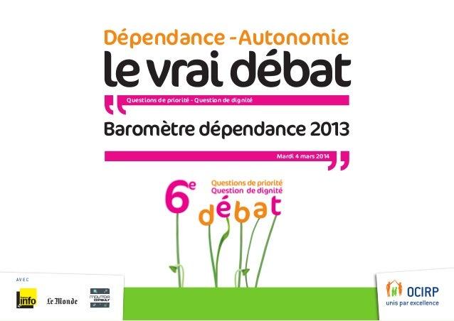 Dépendance - Autonomie  le vrai débat Questions de priorité - Question de dignité  Baromètre dépendance2013 Mardi 4 mars ...
