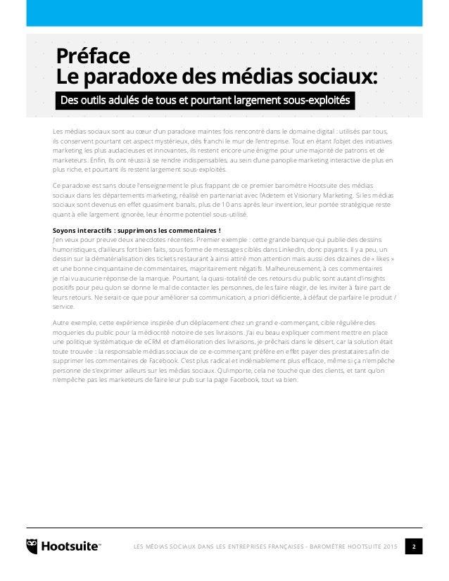 Les Médias Sociaux dans les entreprises françaises - Barometre Hootsuite 2015 Slide 2