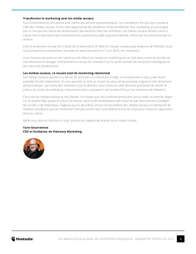 Les Médias Sociaux dans les entreprises françaises - Barometre Hootsuite 2015 Slide 3