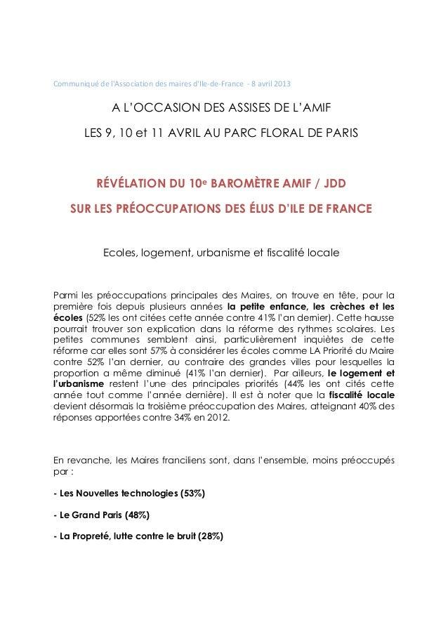 Communiqué de lAssociation des maires dIle-de-France - 8 avril 2013                A L'OCCASION DES ASSISES DE L'AMIF     ...