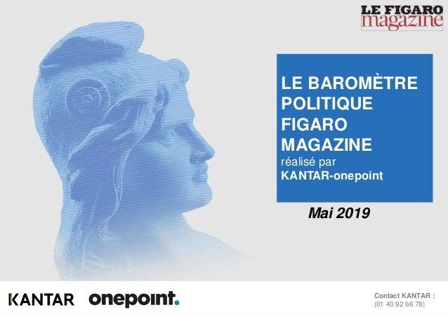 1Baromètre Figaro Magazine – Mai 2019 Contact KANTAR : (01 40 92 66 78) Mai 2019 LE BAROMÈTRE POLITIQUE FIGARO MAGAZINE ré...