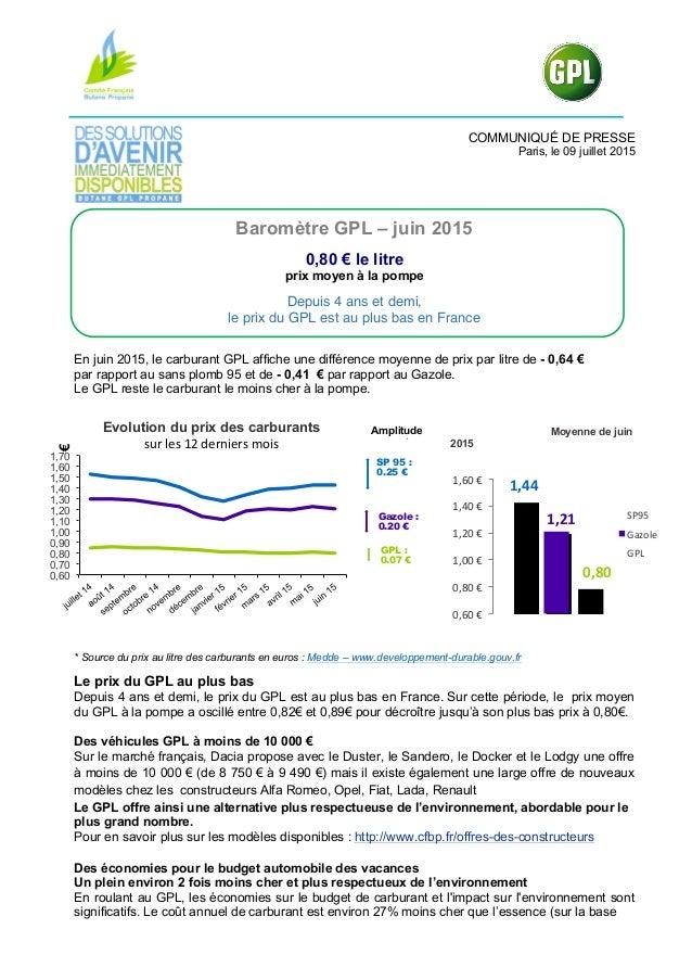 COMMUNIQUÉ DE PRESSE Paris, le 09 juillet 2015 Baromètre GPL – juin 2015 0,80 € le litre prix moyen à la pompe Depuis 4 an...