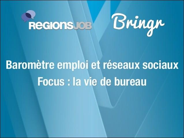 Bringr Baromètre emploi et réseaux sociaux Focus : la vie de bureau