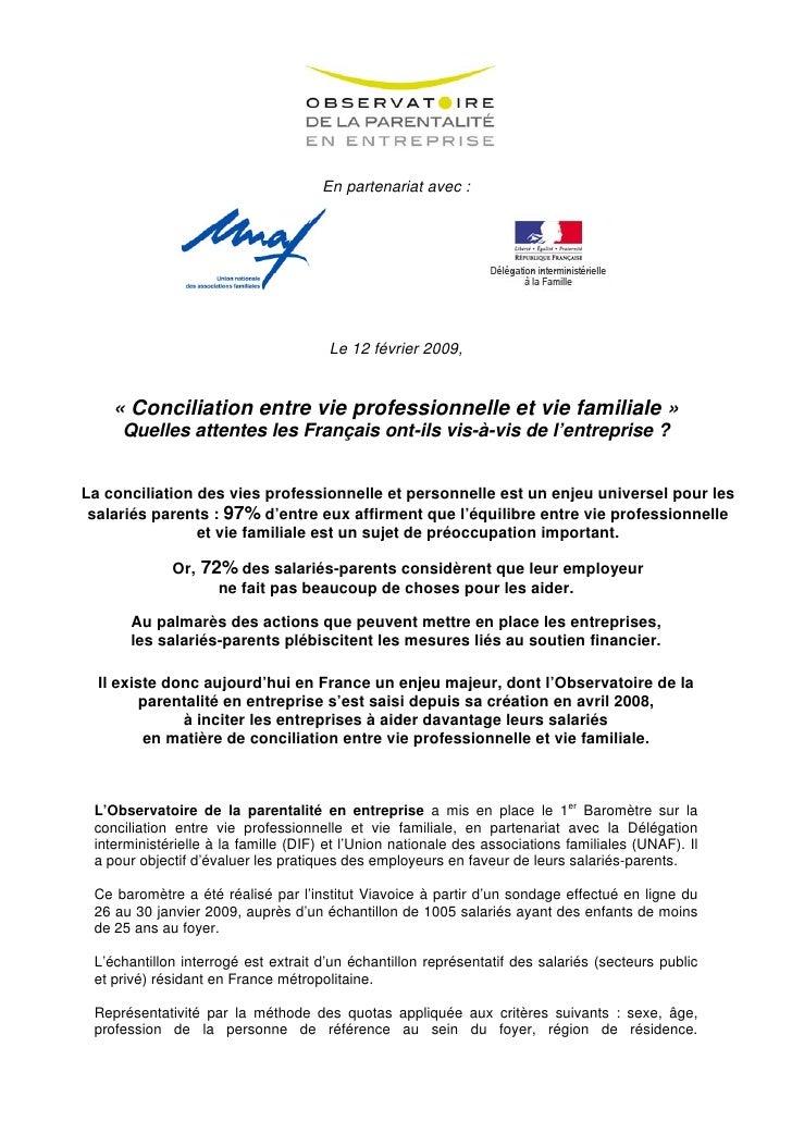 En partenariat avec :                                           Le 12 février 2009,       « Conciliation entre vie profess...