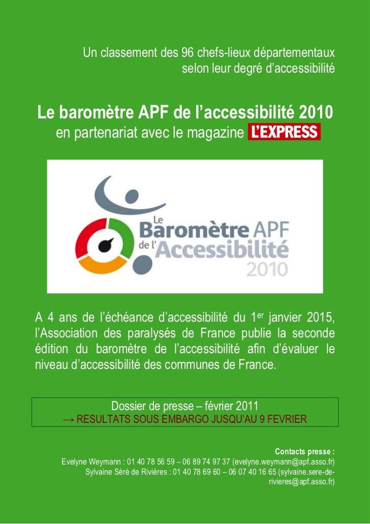 Un classement des 96 chefs-lieux départementaux                             selon leur degré d'accessibilitéLe baromètre A...