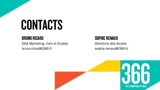 CONTACTS DGA Marketing, Com et Etudes bruno.ricard@366.fr BRUNORICARD Directrice des études sophie.renaud@366.fr SOPHIEREN...