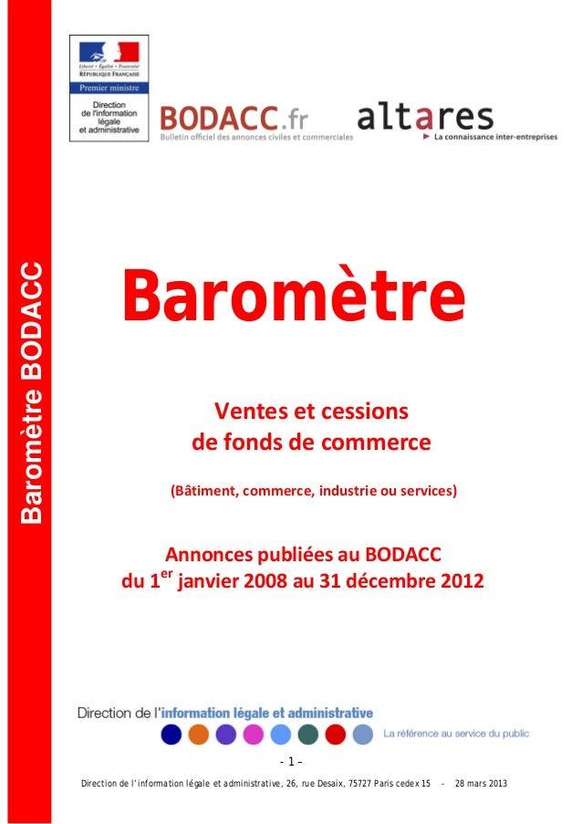BaromètreBaromètre BODACC                                                 Ventesetcessions                            ...