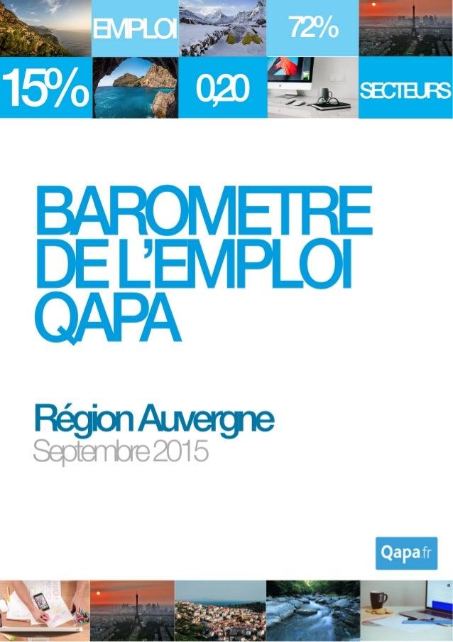 Septembre 2015 - Baromètre de l'emploi en région Auvergne par Qapa - Tous droits réservés. 1