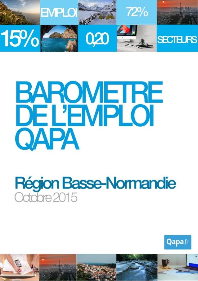 Octobre 2015 - Baromètre de l'emploi en région Basse-Normandie par Qapa - Tous droits réservés. 1