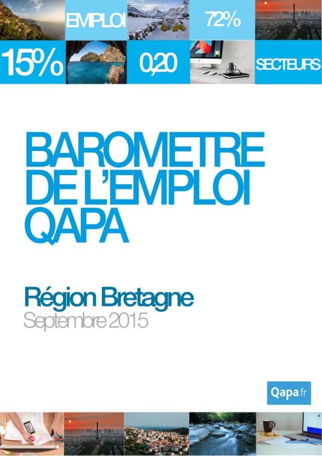 Septembre 2015 - Baromètre de l'emploi en région Bretagne par Qapa - Tous droits réservés. 1